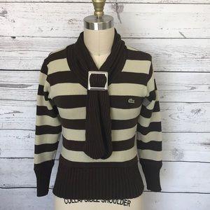 Lacoste Brown Tan Stripe LS Sweater Size Small